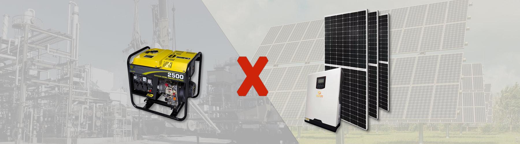 Geradores de energia solar ou à diesel?
